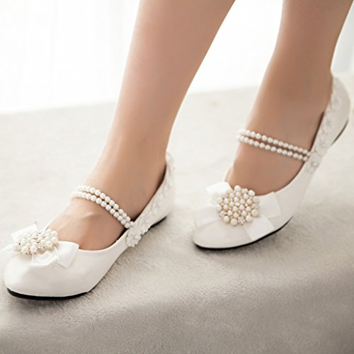 Getmorebeauty Womens Mary Janes Flats Pearls Flower Dress Wedding Shoes