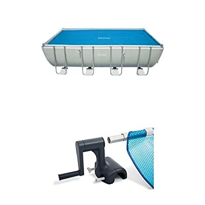 "Intex Solar Cover for 18ft X 9ft Rectangular Frame Pools, Measures 17' 8"" X 8' 4"" and Solar Cover Reel for 9ft - 16ft Wide Intex Above Ground Pools : Garden & Outdoor"