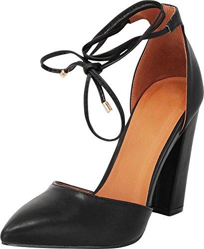 Cambridge Select Women's Closed Pointed Toe D'Orsay Crisscross Wraparound Ankle Tie Chunky Block Heel Pump Black Pu