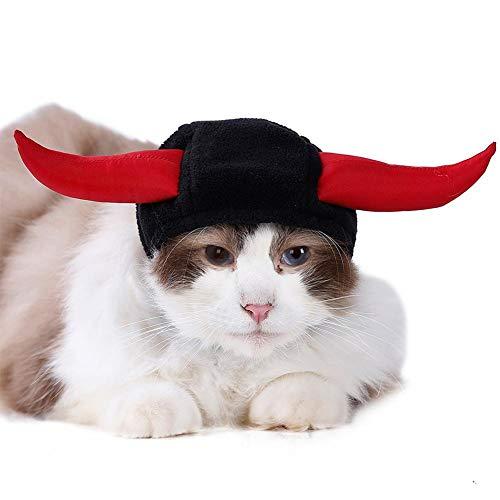 iBaste Cat Halloween Costumes Cat Cosplay Cap Bull Horn Small Dog Hat Puppy Cap Cat Hat Devil Photo Prop