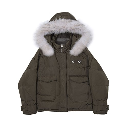 hembra breve Jacket Ejército manga invierno de murciélago párrafo Gran verde Collar El lana Down de wqf7Wa8