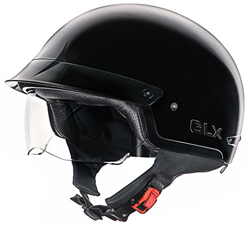 GLX Cruiser Scooter Motorcycle Half Helmet DOT Approved + 2 Retractable Visors (Gloss Black, (Approved Gloss Black Motorcycle Helmet)