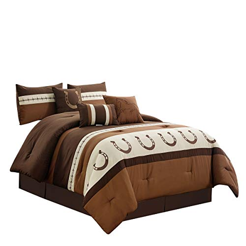 - WPM WORLD PRODUCTS MART 7 Piece Rustic Comforter Set. Brown/Beige/Teal Horseshoe, Horse, Barb Wired Embroidered Bed in a Bag Western Cowboy Bedding Set- JENA (Coffee, Queen)