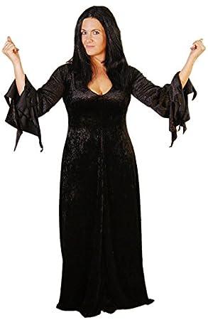 CL COSTUMES - Disfraz de Morticia Adams (incluye peluca, tallas 18 a 40)