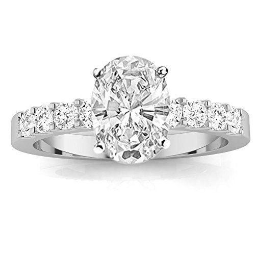 3 Cttw 14K White Gold Oval Cut Classic Prong Set Diamond Engagement Ring with a 2 Carat I-J Color I1 Clarity Center