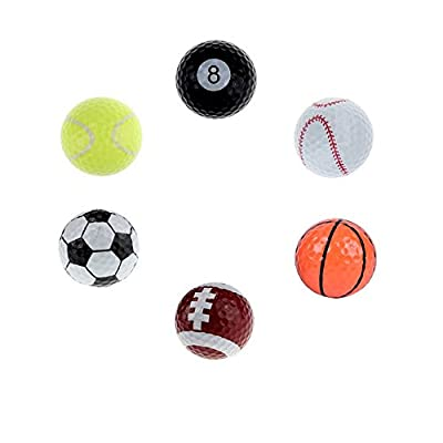 Fun Golf Balls Colored Unique And Fun Design Outdoor or Field Playing Pack Of 6