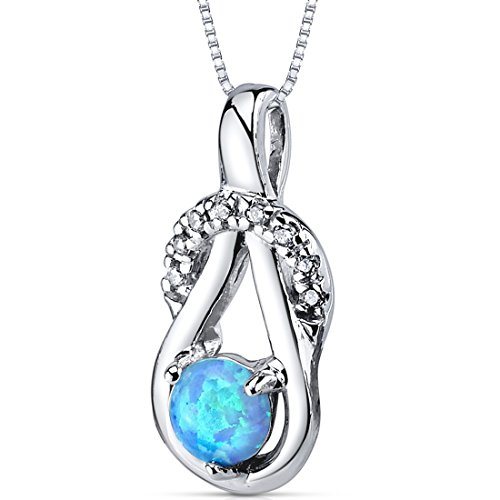 Created Blue Opal Pendant Necklace Sterling Silver Round Shape 0.50 Carats