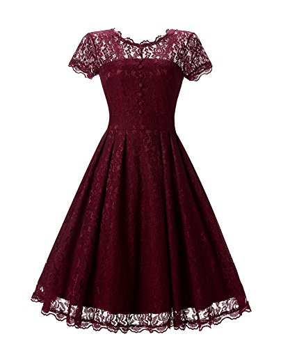 Chowsir Women Vintage Floral Lace Evening Party Midi Dress Round Collar Slim A-Line (Medium, Wine)