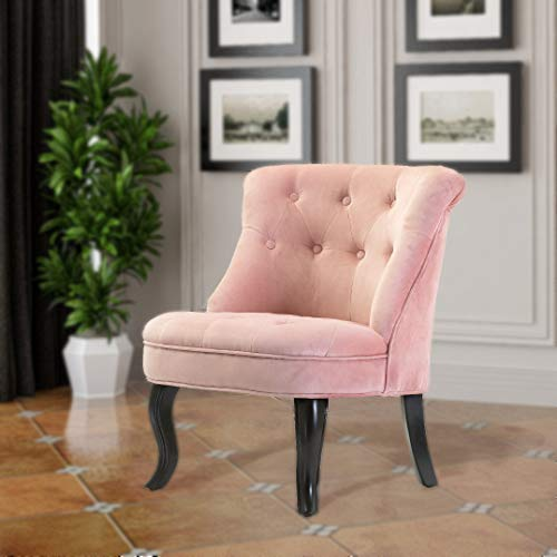 Pink Upholstered Chair | Jane Tufted Velvet Armless Accent Chair with Black Birch Wood Legs – Blush Pink