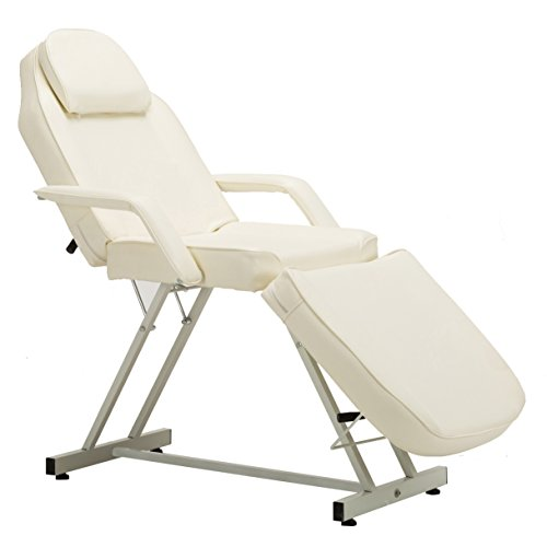 "Barberpub 75"" Salon SPA Beauty Bed Facial Tattoo Table Bed Adjustable Massage Table Creme White, 6154-0015W"