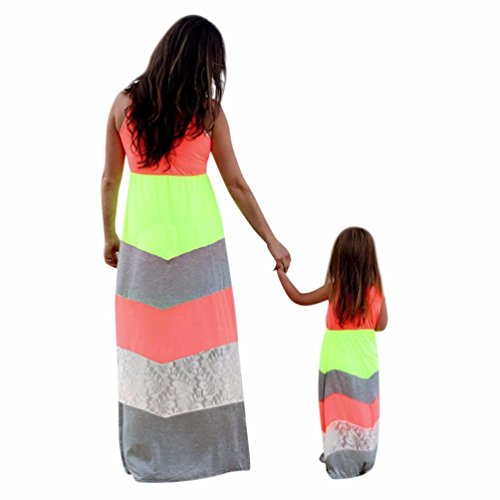 TM AMA Mom Daughter Long Sleeve Geometric Wave Dress Family Clothes