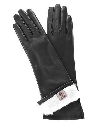 Fratelli Orsini Women's Italian Rabbit Fur Lined 6-Button Length Gloves Size 7 1/2 Color Black by Fratelli Orsini