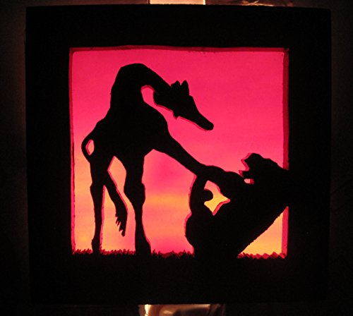 Stain glass night light Giraffe and Tiger silhouette Handmade in the USA