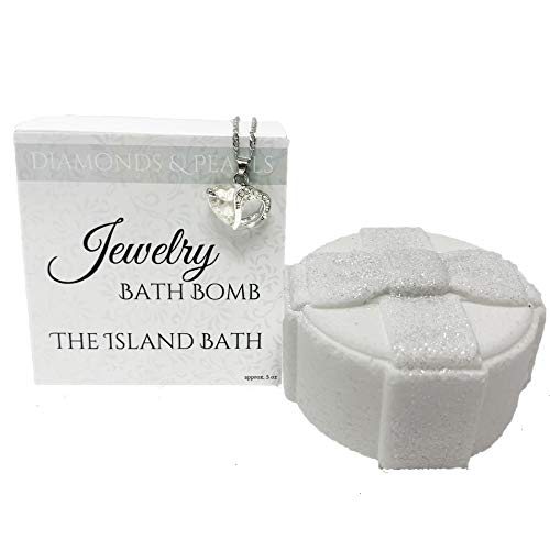 Jewelry Bath Bomb with Heart Necklace - XL- Made in USA (Diamonds & Pearls)
