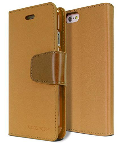 """iPhone 6S PLUS / 6 PLUS Case, [Drop Protection] Goospery® Sonata Diary [Wallet Type] Synthetic Leather Case [ID Card & Cash Slot] w/ Stand Cover for Apple iPhone 6S PLUS / 6 PLUS [5.5""""] - Camel"""