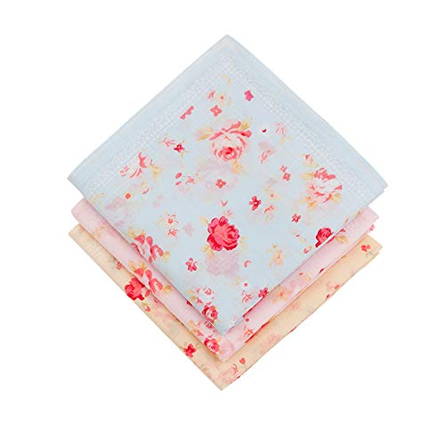 - Houlife Ladies 100% 60S Cotton Handkerchiefs Womens Red Rose Floral Print Hankies for Wedding Party 18x18