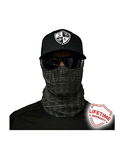 (SA Company Face Shield Micro Fiber Protect from Wind, Dirt Bugs. Worn as a Balaclava, Neck Gaiter & Head Band for Hunting, Fishing, Boating, Cycling, Paintball and Salt Lovers. - Alligator Skin)