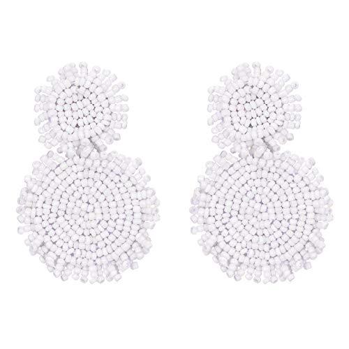 - Bonnie Bead Statement Round Disc Dangle Earring Seed Beaded Stud Tassel Circle Hoop Drop Earrings for Women Girl (White)
