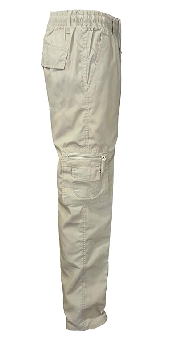 Fubotevic Mens Multi-Pockets Cotton Pure Color Casual Mid Waist Cargo Pants Trousers