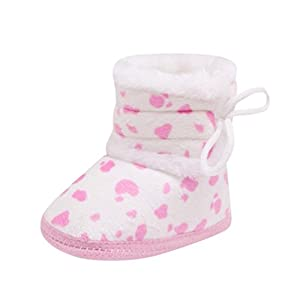 Fheaven Infant Toddler Newborn Baby Girls Boys Soft Heart Booties Bandage Warming Snow Boots Shoes (6-12Month, Pink)