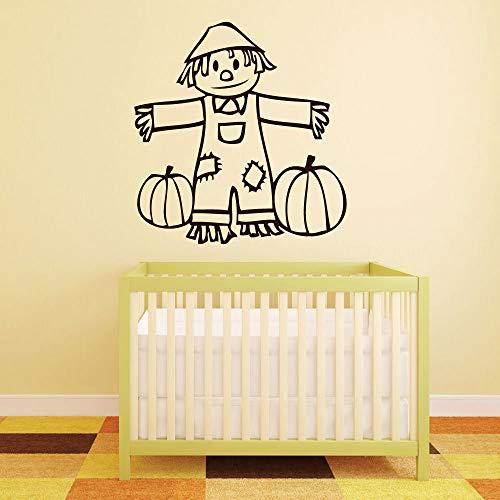 BYRON HOYLE Halloween Wall Decal - Cute Scarecrow - Fall Vinyl Sticker Decoration for Home, Bedroom, Living Room or Nursery Decor -