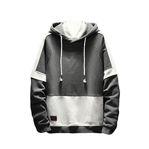 Clearance ! Mens Hoodies 2018 Autumn,Vanvler Male Sweatshirt Long Sleeve Cardigan Patchwork Tops Zipper Hooded Shirt (4XL, Gray)