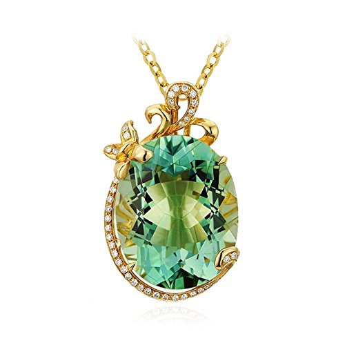 LSOOYH 18K Gold Plated Flower Fashion Oval Green Crystal Necklace For Women Girl Gift (Green) - Oval Designer Pendant