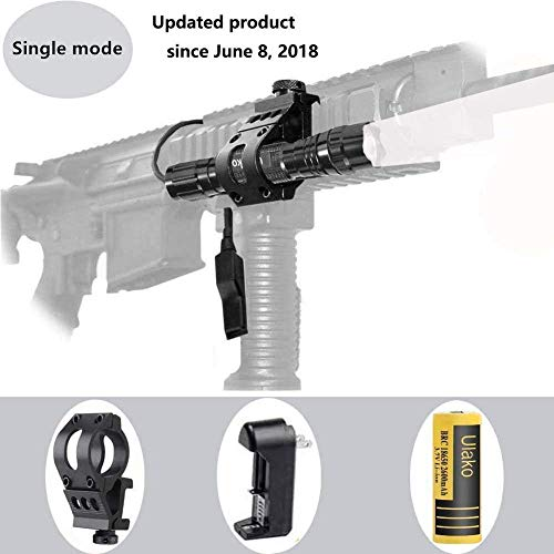 Ulako Offset L2 LED 1000LM Single 1 Mode Coyote Hog Pig Varmint Predator Hunting Flashlight Torch for AR15 Rifle Shotgun