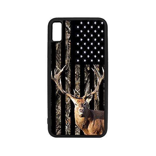 (Slim Rubber Skin Phone Case for Apple iPhone XR by InfoposUSA Camouflage Deer USA Flag)