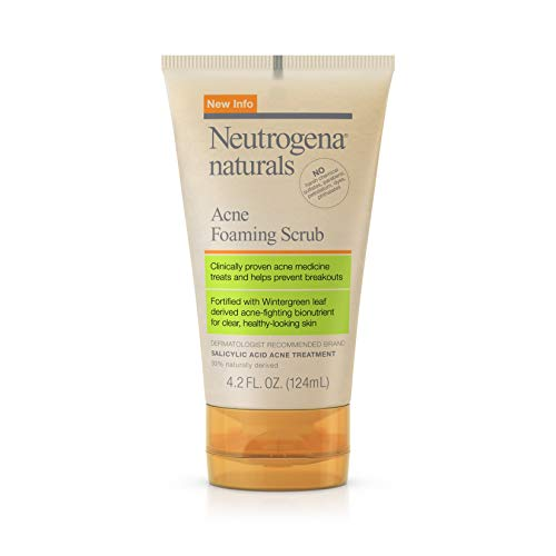 Neutrogena Naturals Acne Foaming Facial Scrub with Natural Salicylic Acid from Wintergreen Leaf Bionutrients, Hypoallergenic, Non-Comedogenic & Sulfate-, Paraben- & Phthalate-Free, 4.2 fl. oz