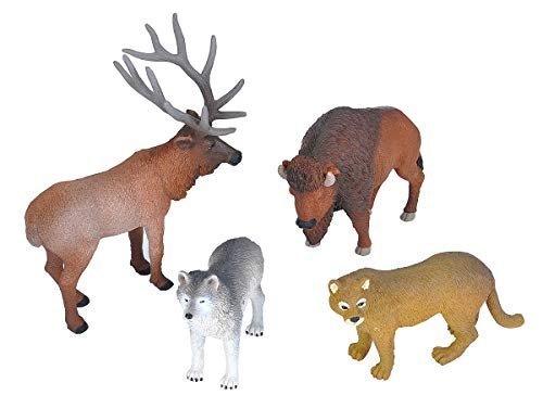 (Wild Republic 21508 Wolf, Bison, Cougar, Elk, Kids Gifts, Educational Toys, Wilderness Polybag, 4Piece)