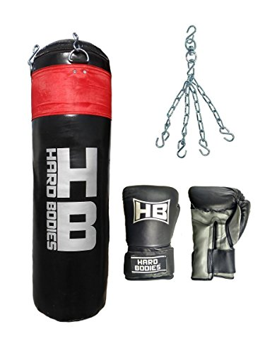 Hard Bodies Combo 10-A Synthetic Leather Punching Bag- Black – Filled + Boxing Gloves +Heavy Chain Price & Reviews