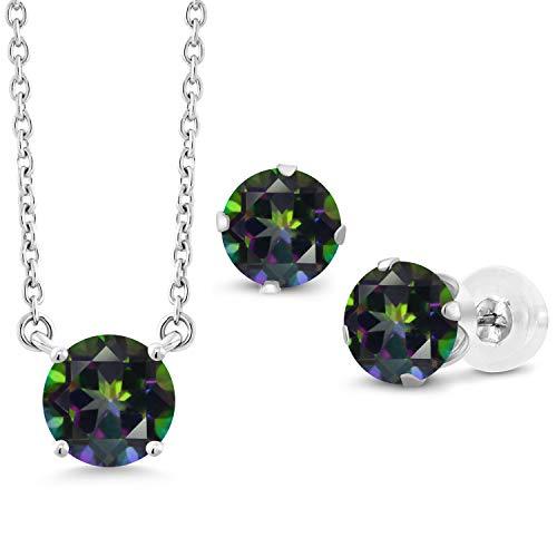 Gem Stone King 3.30 Ct Round Green Mystic Topaz 10K White Gold Pendant Earrings Set ()