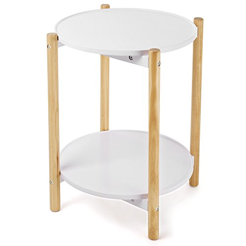 SONGMICS 2-Tier Side Table, Scandinavian End Table with Removable Trays, Round Coffee Table with Solid Pine Legs, Nature White, ULET08WN