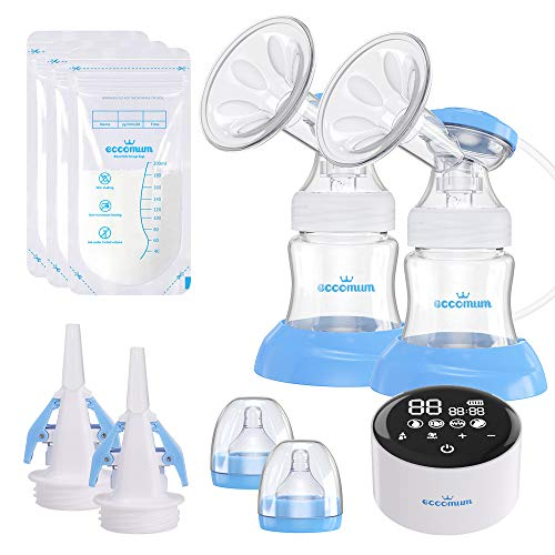 Cheap Electric Double Breast Pump Eccomum Breastfeeding Pump with 4 Modes & 9 Levels, Memory Functio...