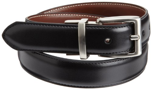 Nautica Big Boys' Dress Reversible Belt With Contrasting Stitch, Black/Brown, 26 (Stitch Leather Dress Belt)