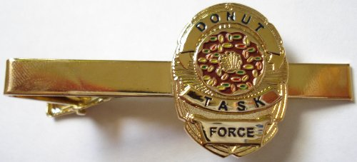 Donut Task Force Mini Law Enforcement Police Badge FBI Funny Tie Bar - Badge Security Forces