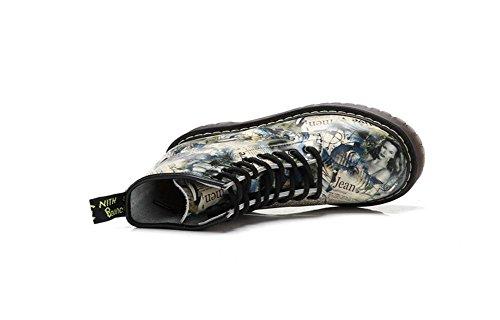 Damenschuhe Stil color wild KUKI newspaper Stiefel Lederstiefel Leder amerikanischen Top Martin lässig und europäischen High klassisch Stiefel Bqa5wx1fYa