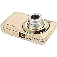 KINGEAR V600 2.7 Inch TFT 15MP 1280 X 720 HD Digital Video Camera With 5X Optical Zoom and Anti-shake Smile Capture (Gold)