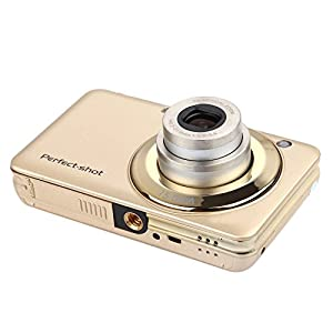 KINGEAR KG007 2.7 Inch TFT 5X Optical Zoom 15MP 1280x720 HD Anti-shake Smile Capture Digital Video Camera--Gold