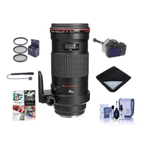 Canon EF 180mm f/3.5L Macro USM AF Lens Kit, USA - Bundle with 72mm Filter Kit, Lens Cap Leash, Lens Cleaning Kit, Lens Wrap, FocusShifter DSLR Follow Focus & Rack Focus, Pro Software Package