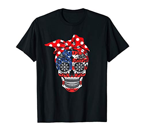 Sugar Skull American Flag Red Bow 4th Of July  T-Shirt