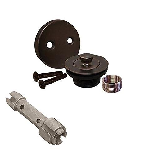 Oil Rubbed Bronze Bathtub Drain Bath Tub Shower Assembly and Removal Tool (Bathtub Overflow Elbow)
