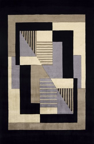 Momeni Rugs NEWWANW-06BLK7696 New Wave Collection, 100% Wool Hand Carved & Tufted Contemporary Area Rug, 7'6