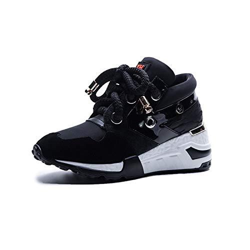 ZHZNVX Zapatos de Mujer Horse Hair Primavera/Otoño Comfort Sneakers Wedge Heel Round Toe Black/Red Black