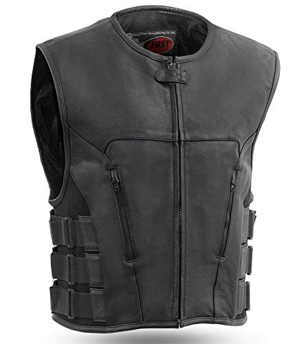Mens Motorcycle Swat Team Style Tactical Cow Hide Leather Commando Vest side elastics XL
