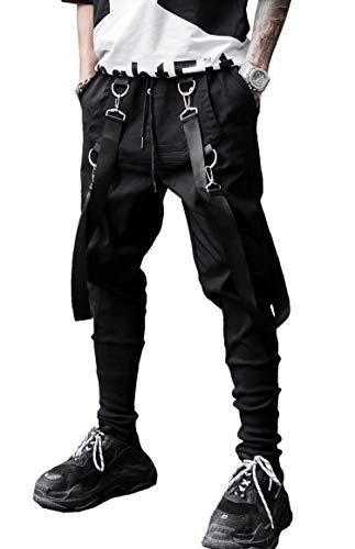 (MOKEWEN Men's Straps Belt Ankle Band Cargo Pocket Ninth Pants with Drawstring Waist 31-32)