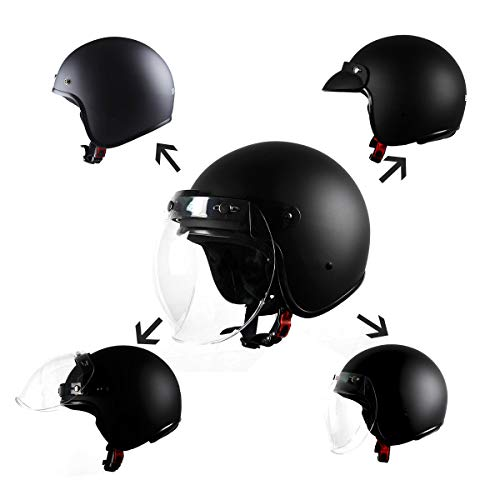 1STorm Motorcycle Open Face Helmet Mopeds Scooter Pilot Half Face Helmet with Detachable Clear Shield, Matt Black