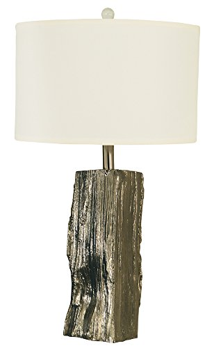 Thumprints 1262-ASL-2101 Driftwood Table Lamp, Polished Nickel Finish Craftsman Wood Finish Table