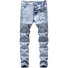 OBT Boy's Slim Moto Biker Skinny Ripped Distressed Stretch Fashion Fit Denim Jeans